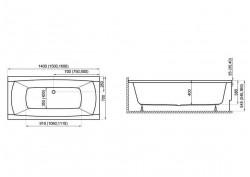 Прямокутна ванна CAPRI NEW, 160 x 70 см