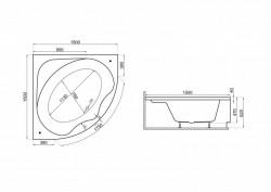 Кутова ванна STANDARD, 150 x 150 см