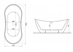 Акрилова ванна ABI біла, 180 x 80 см