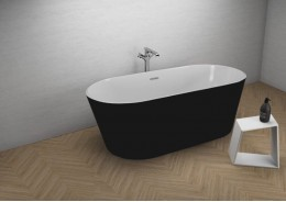Акрилова ванна UZO чорна матова, 160 x 80 см