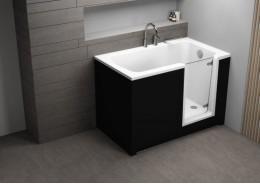 Акрилова ванна з дверцятами PERE чорна, 130 x 75 см